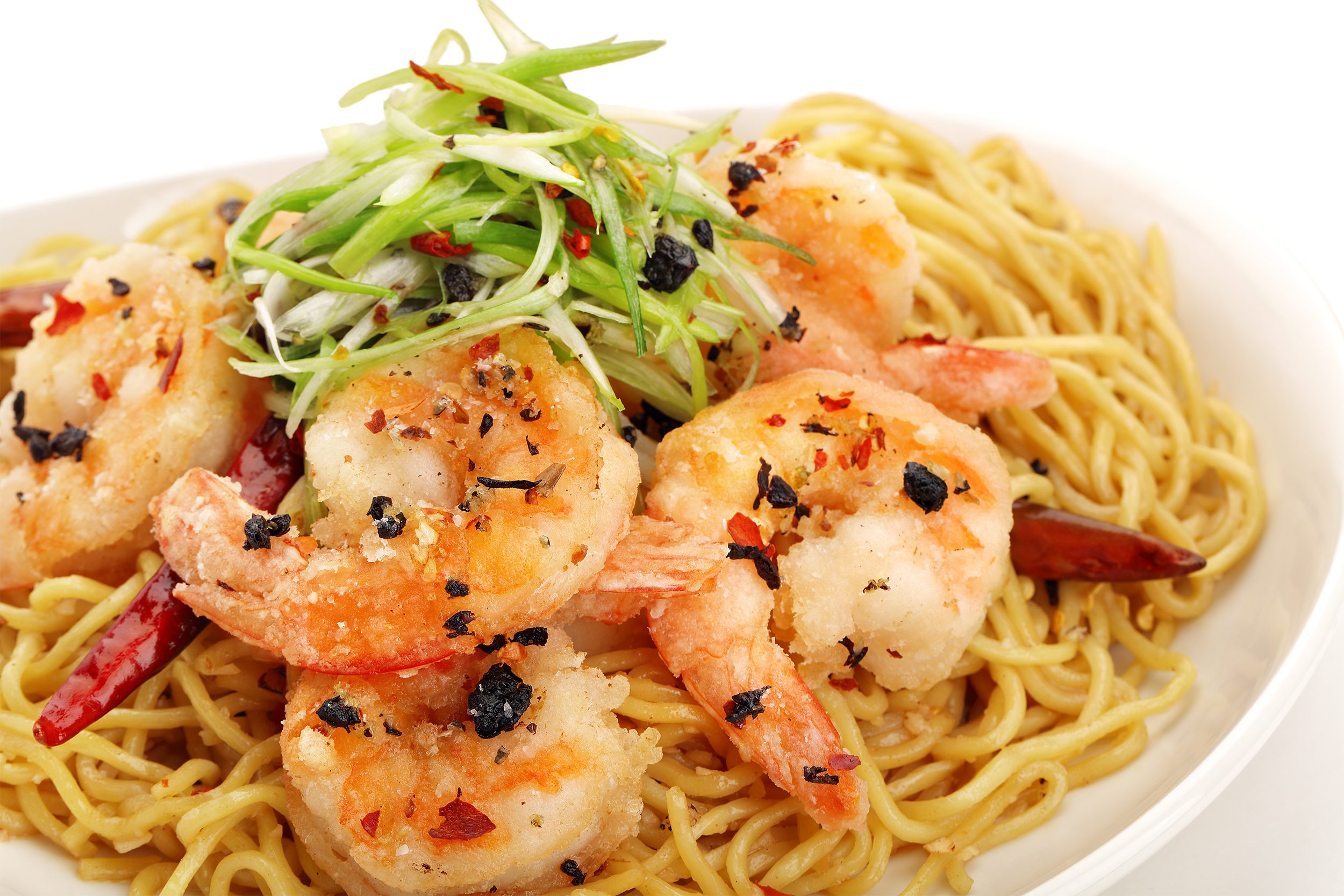 The Long Life Noodles and Prawns ix full of flavor with spices and ...