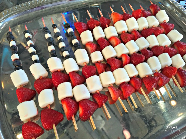 Kids don't like blueberries or Strawberries? Use Welch's Fruit Snacks Mixed Berry to use in place of the fruit to keep the patriotic theme!
