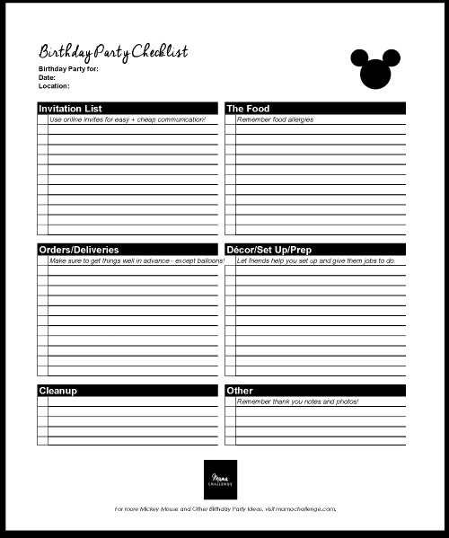 Mickey Mouse Birthday Plan