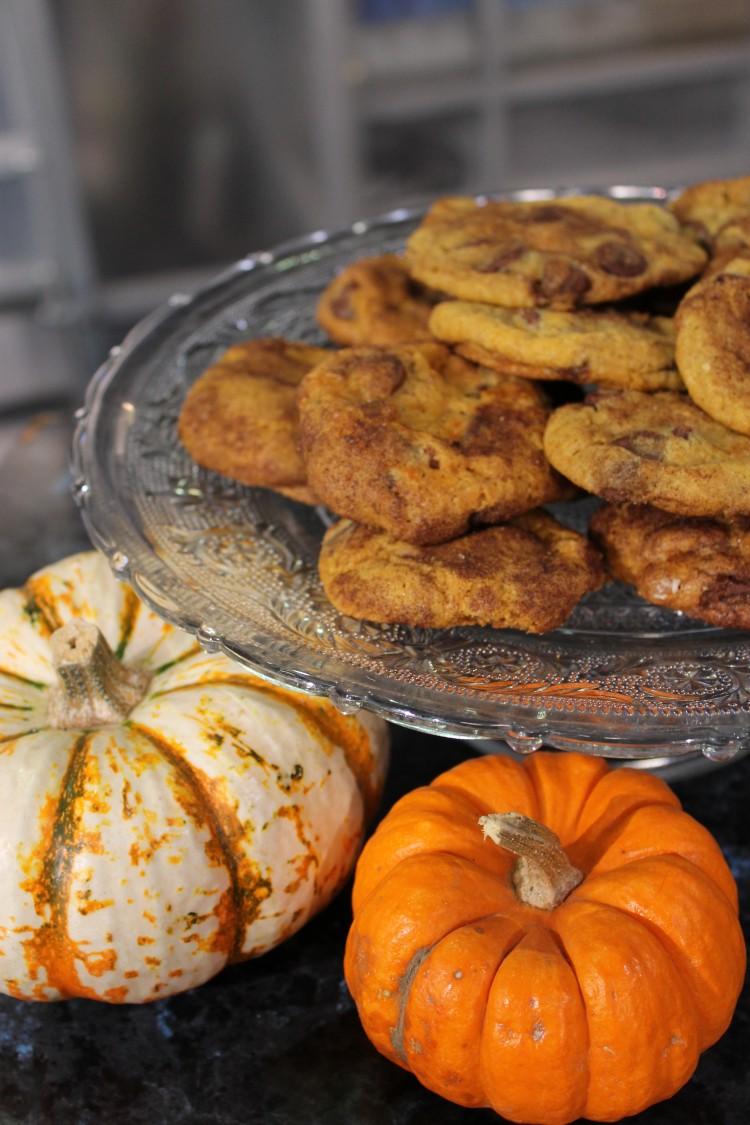 Caramel Stuffed Pumpkin Chocolate Chip Cookies