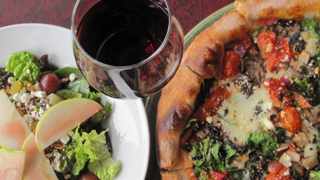 SPIN! Neapolitan Pizza pizza, salad, and wine (higher res)