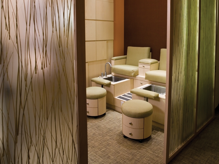 Several services are provided at the spa like manis, pedis, facials and massages.