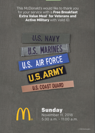 McDonald's Veterans Day POP